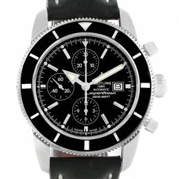 Breitling Black Stainless Steel and Leather SuperOcean Heritage A13320 Men's Wristwatch 46MM 227121