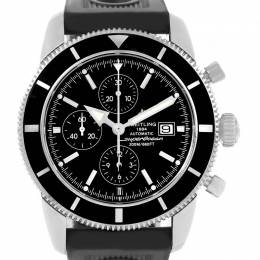 Breitling Black Stainless Steel and Leather SuperOcean Heritage A13320 Men's Wristwatch 46MM 227122