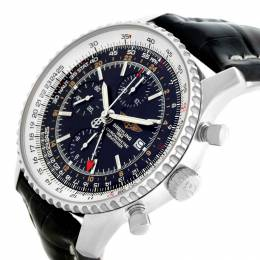 Breitling Black Stainless Steel and Leather Navitimer A24322 Men's Wristwatch 46MM 227099