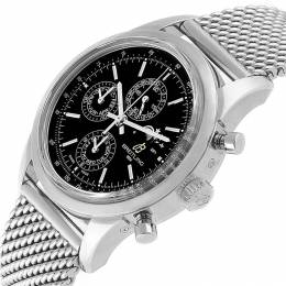 Breitling Black Stainless Steel Transocean Perpetual Moonphase A19310 Men's Wristwatch 43MM 227136