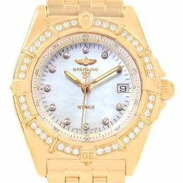 Breitling Yellow Gold MOP Diamond and Stainless Steel Windrider K67050 Women's Wristwatch 31MM 227141