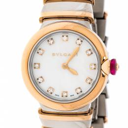 Bvlgari White Mother of Pearl 18K Rose Gold and Stainless Steel Diamonds LVCEA Women's Wristwatch 28 mm 228171