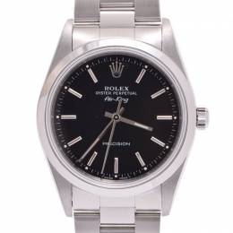Rolex Black Stainless Steel Air King 14000 Men's Wristwatch 33 MM 227822