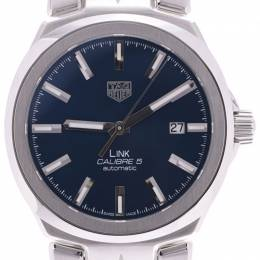 Tag Heuer Blue Stainless Steel Link Caliber 5 WBC2112 Men's Wristwatch 40MM 228259
