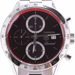 Tag Heuer Black Stainless Steel Carrera Chrono Automatic CV201D.BA0786 Men's Wristwatch 41MM 228256