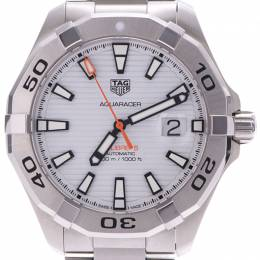 Tag Heuer White Stainless Steel Aquaracer WAY2013 Men's Wristwatch 42MM 228254