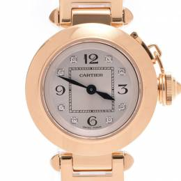Cartier Silver 18K Yellow Gold Stainless Steel and Diamond Miss Pasha WJ124015 Women's Wristwatch 26MM 227893
