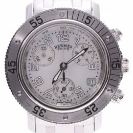 Hermes Shell Stainless Steel Clipper Chrono CL2.310 Women's Wristwatch 33MM 227955