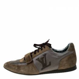 Louis Vuitton Grey/Olive Green Canvas and Suede Logo Velcro Strap Sneakers Size 42 228986