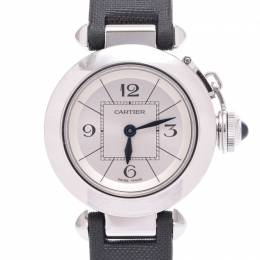 Cartier White Stainless Steel and Satin Miss Pasha Women's Wristwatch 26MM 228300