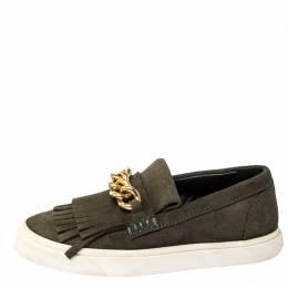 Giuseppe Zanotti Design Green Suede Fringed Slip On Sneakers Size 39.5