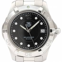 Tag Heuer Black Diamond and Stainless Steel Aquarace WAF111C Men's Wristwatch 39MM 229619