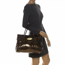 Mulberry Gold Croc Embossed Patent Leather and Suede Bayswater Satchel 228374