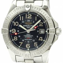 Breitling Black Stainless Steel Colt GMT A32350 Men's Wristwatch 40MM 229570