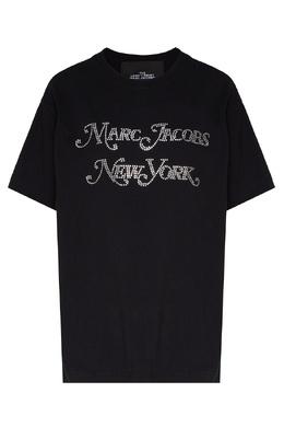 Черная футболка с логотипом из стразов The Marc Jacobs 167155255