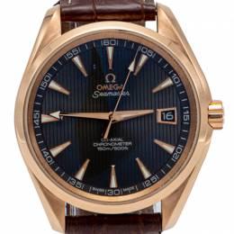 Omega Grey Seamaster Aqua Terra Rose Gold Automatic Skeleton Back Men'S Watch 41.5MM