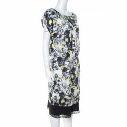 GF Ferre Multicolor circle Print Silk Lace Detail Asymmetric Shoulder Dress L Gianfranco Ferre