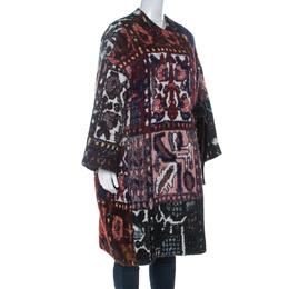 Chloe Multicolor Woven Tapestry Jacquard Waist Tie Detail Mid Length Coat S 230440