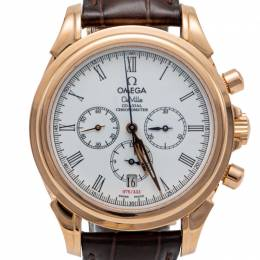 Omega White De Vile Rose Gold Chronograph Automatic Limited Edition Of 333 Men'S Watch 41MM
