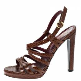 Sergio Rossi Brown Python Leather Strappy Platform Sandals Size 38.5