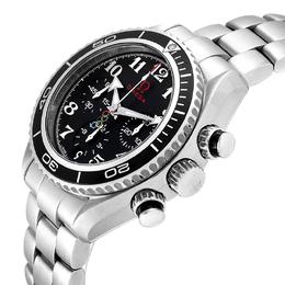 Omega Black Stainless Steel Seamaster Planet Ocean Olympic 222.30.38.50.01.003 Watch Men's Wristwatch 37.5 MM