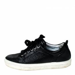 Lanvin Black Leather Lace Up Low Top Sneakers Size 37 230999