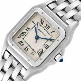 Cartier White Stainless Steel Panthere W25054P5 Women's Wristwatch 26x36MM 231158