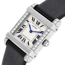 Cartier White Diamonds And Platinum Tank Chinoise 2755 Women's Wristwatch 23x32MM 231166