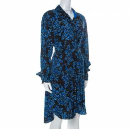 Diane Von Furstenberg Black & Cobalt Blue Floral Print Silk Belted Shirt Dress L