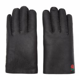 Undercover Black Shearling Rose Gloves 192414M13500201GB