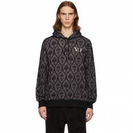 Undercover Grey and Black Valentino Edition Base Printed Hoodie 192414M20201302GB