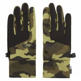 The North Face Green Camo Etip Gloves 192802M13500201GB