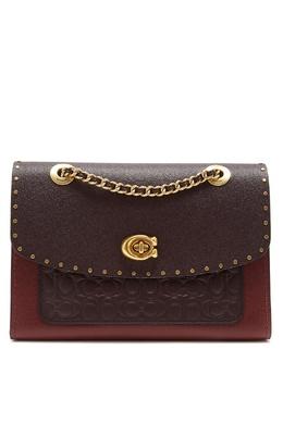 Комбинированная кожаная сумка с заклепками Parker Coach 2219155957