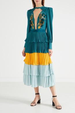 Зеленое платье с вышивкой Elisabetta Franchi 1732156381