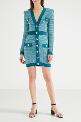 Трикотажное фисташковое платье на пуговицах Elisabetta Franchi 1732156272