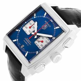Tag Heuer Blue Stainless Steel Monaco Calibre 12 CAW2111 Men's Wristwatch 39 MM 230730
