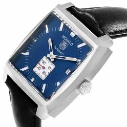Tag Heuer Blue Stainless Steel Monaco Calibre 6 WW2111 Men's Wristwatch 37.5 MM 230733