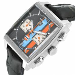 Tag Heuer Black/Orange/Blue Stainless Steel Monaco Gulf Calibre 12 CAW2113 Men's Wristwatch 39 MM 230734
