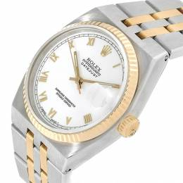 Rolex White 18K Yellow Gold and Stainless Steel Oysterquartz Datejust 17013 Men's Wristwatch 36MM 231363