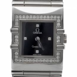 Omega Black Square Diamond Quadra Constellation Steel Women'S Watch 24MM