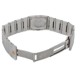 Omega Black Square Diamond Quadra Constellation Steel Women'S Watch 24MM 232065