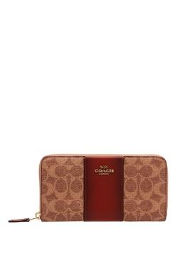 Бежево-коричневый кошелек на молнии Coach 2219101022