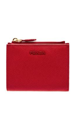 Красный кошелек на молнии с логотипом в тон Prada 40111639