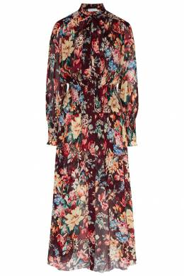 Бордовое шелковое платье с цветочным принтом Zimmermann 1411156356