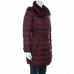 Burberry Brit Burgundy Down Filled Shearling Collar Winterleigh Puffer Coat S 232033