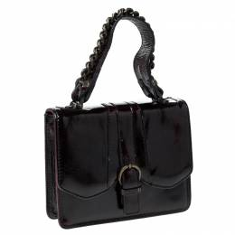 Gianfranco Ferre Burgundy Patent Leather Satchel 230090