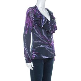 Just Cavalli Navy Blue & Purple Printed Stretch Ruffle Collar Detail Top M 229873