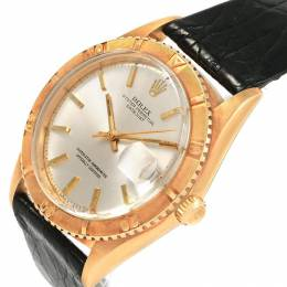 Rolex Black 18K Yellow Gold and Leather Turnograph Datejust 1625 Men's Wristwatch 40MM 232124
