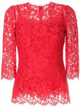 Dolce & Gabbana - блузка с кружевным узором и фестонами 56TFLM9V956895930000