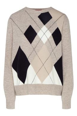 Серый свитер с узорами-ромбами Max Mara 1947156851